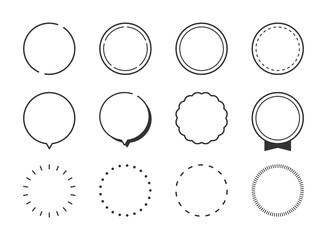 Fototapeta 円形、丸型、吹き出し、見出し、ポイント、ラベルのフレームイラストセット(線、モノクロ、シンプルバージョン) obraz