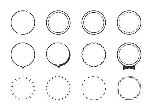 円形、丸型、吹き出し、見出し、ポイント、ラベルのフレームイラストセット(線、モノクロ、シンプルバージョン)