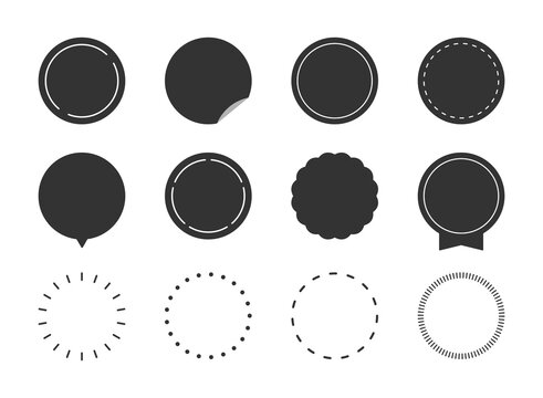 円形、丸型、吹き出し、見出し、ポイント、ラベルのフレームイラストセット(シルエット、モノクロ、シンプルバージョン)