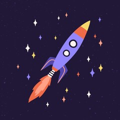 Rocket ship with fire flames from engine. Rocketship fly in outer space. Spaceship flying in cosmos. Missile flight. Childish galactic spacecraft. Colored flat vector illustration of cosmic shuttle