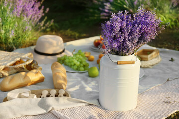 Fototapeta Pot with lavender flowers and tasty food for romantic picnic in lavender field obraz