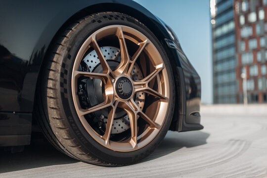 The front wheel of sport car