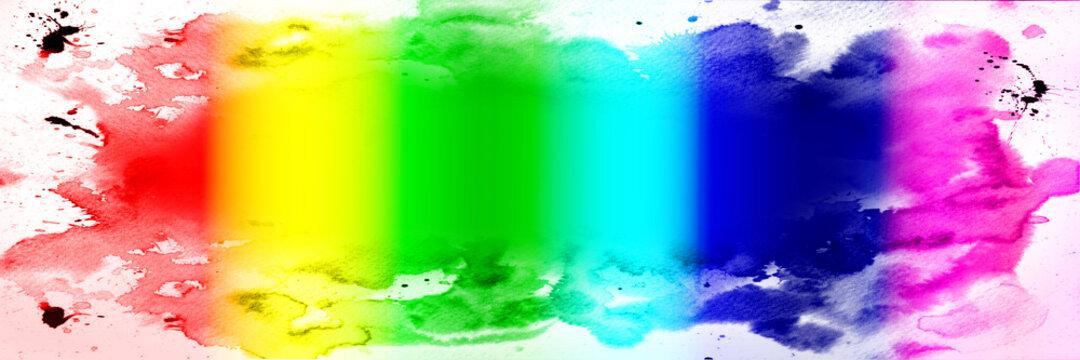 Banner in verschiedenen bunten Farben  und  Tinten-Maleffekt