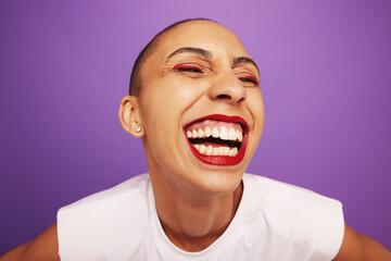 Obraz Funny portrait of a cheerful woman - fototapety do salonu