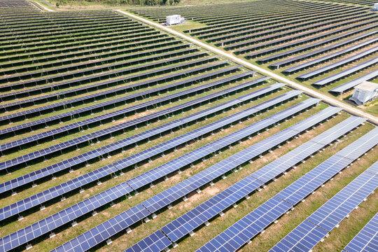 aerial view solar plant farm