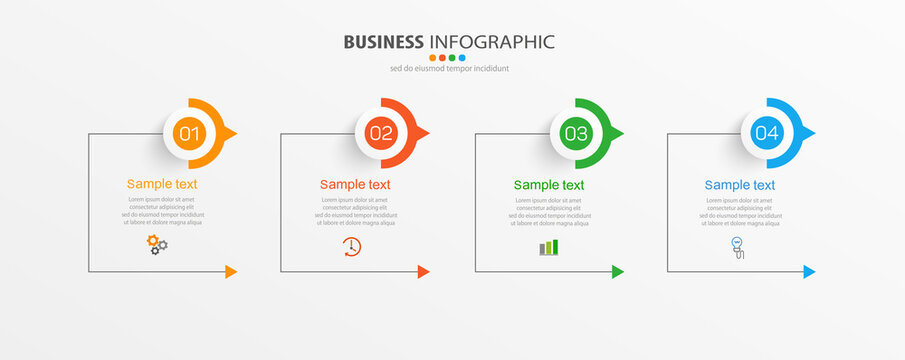 Business infographic design template with 4 options, steps or processes. Can be used for workflow layout, diagram, annual report, web design