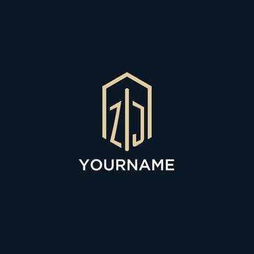 ZJ initial monogram logo with hexagonal shape style, real estate logo design ideas inspiration