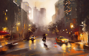 Fototapeta oil painting on canvas, street view of New York, man and woman, yellow taxi,  modern Artwork,  watercolor illustration New York obraz
