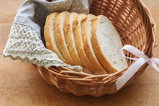 A wicker basket with sliced bread.