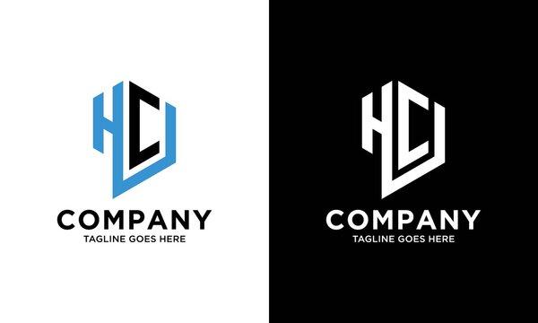 HCU Logo monogram with hexagon shape style design template isolated