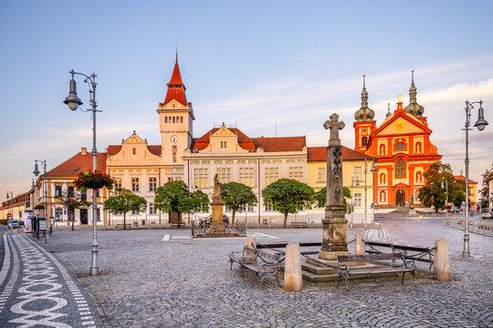 STARA BOLESLAV, CZECH REPUBLIC - SEPTEMBER 30, 2020: Marianske Square, Town Hall and church in Stara Boleslav, Czech Republic.