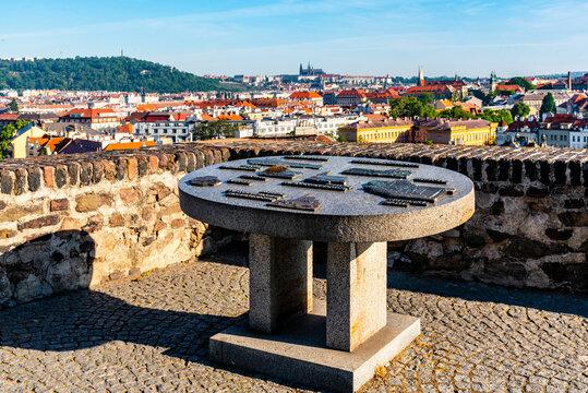 PRAGUE, CZECH REPUBLIC - MAY 21, 2020: Artistic refief map of Prague at lookout point on Vysehrad. Prague, Czech Republic.
