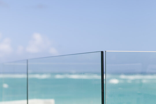 Abstract minimal architecture photo, glass fences