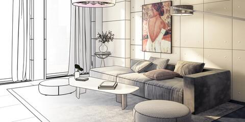 Fototapeta Sitting Group & Decorative Art Presentaion Insiede a Penthouse Flat (project)  - panoramic 3D Visualization obraz