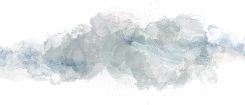 アルコールインクの抽象背景)グレー インクアート 煙 綺麗 おしゃれ 繊細 バナー
