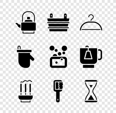 Set Kettle with handle, Sauna bucket, Hanger wardrobe, Incense sticks, brush, hourglass, mittens and Bar of soap icon. Vector