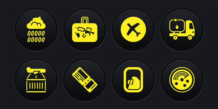 Set Plane, Fuel tanker truck, Airline ticket, Airplane window, Suitcase, Radar with targets on monitor and Cloud rain icon. Vector