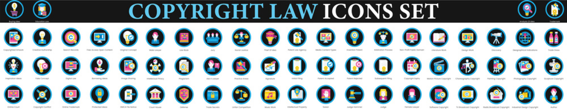 Copyright Law Icons. property intellectual copyright icons set