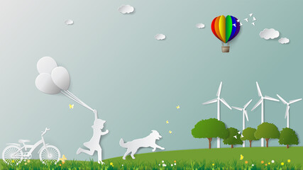 Obraz Green renewable energy environmentally friendly sustainable concepts, girl and dog are running holding balloons in meadow which full of wind turbine Paper folding art origami style vector illustration - fototapety do salonu