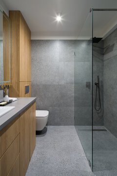 Modern and simple bathroom with granite tiles