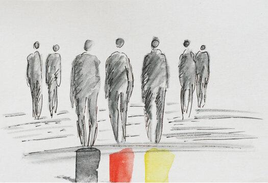 Wahljahr 2021. Wir gehen wählen. Zeichnung - abstrakte Menschen. Bundestagswahlen im September. Wählen gehen und die Demokratie mitbestimmen. Neuwahlen zum deutschen Bundestag