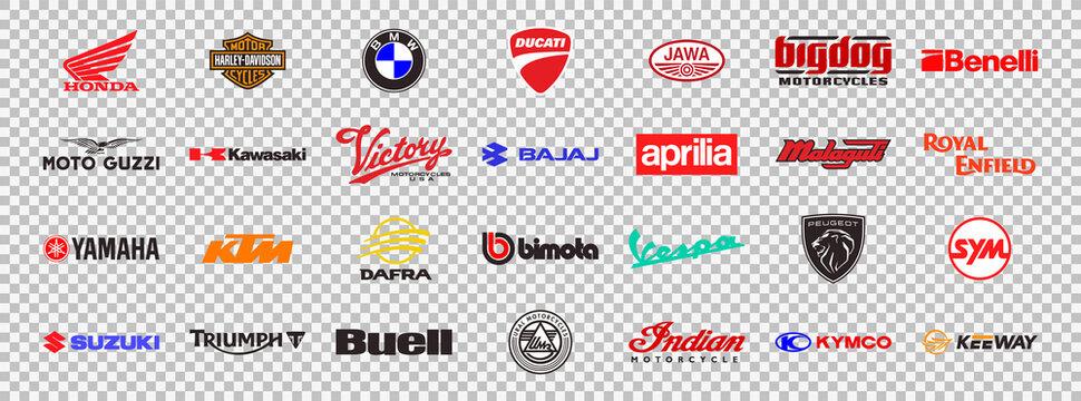 Motorcycles brands logos collection, vector flat color icons set. Honda, Harley Davidson, BMW, Ducati, Kawasaki, Yamaha, KTM, Triumph, Suzuki, Bimota and more. Vector illustration