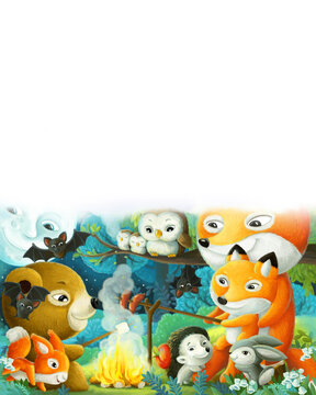 cartoon forest animals grilling over fire illustration