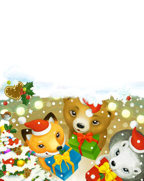 cartoon christmas scene forest animals with presents