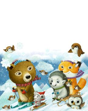 cartoon forest animals skiing winter sports illustration