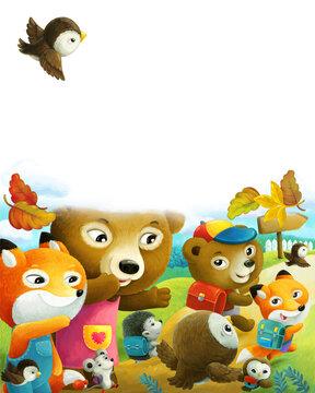 cartoon forest animals parents sending kids to school