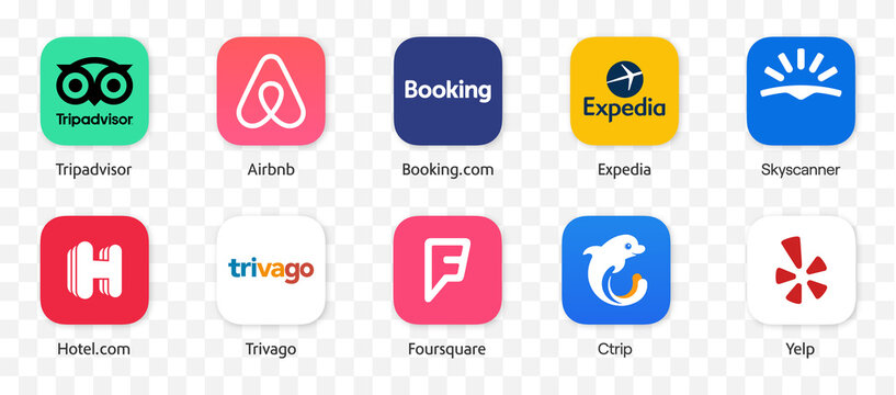 Bookings App logo vector set : Tripadvior, Booking.com, Airbnb, Expedia, Trivago, Yelp, Ctrip, Skyscanner , Foursquare, Hotel.com. Hotel, Flight,  Restaurant Booking application icons. Editorial illus