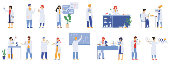 Obraz Scientific research. Science lab male and female workers, biologists, chemists and scientist laboratory researchers vector illustration set. Medical workers - fototapety do salonu
