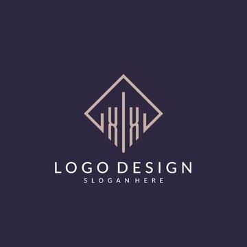 XX initial monogram logo with rectangle style design