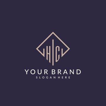 HC initial monogram logo with rectangle style design
