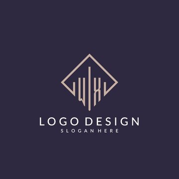 WX initial monogram logo with rectangle style design