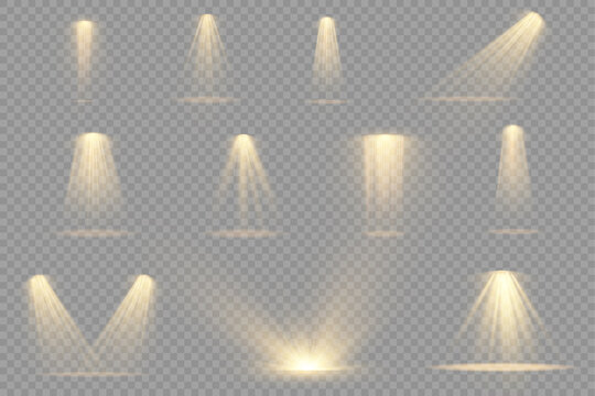 Set of yellow spotlight, projector light effect.