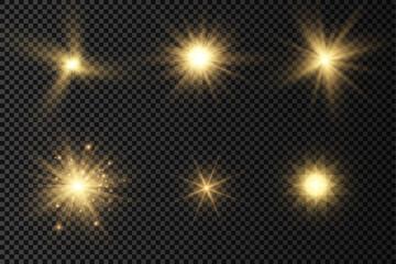 Obraz Glow bright light star, yellow sun rays. - fototapety do salonu