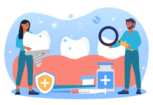 Dental prosthetics concept. Doctors examine the oral cavity with magnifying glass and insert prostheses. Dental care. Beautiful smile. Cartoon flat vector illustration isolated on a white background