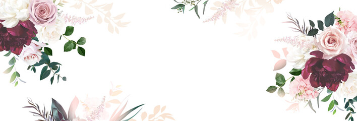 Fototapeta Floral banner arranged from leaves and flowers. Peony, greenery and roses card. obraz