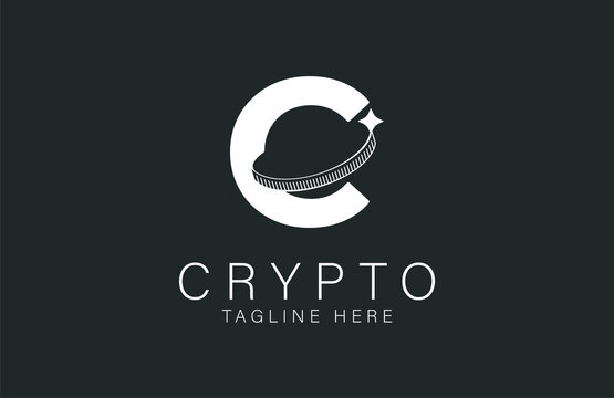 Initial C Crypto logo, letter C with Coin combination, flat design logo template, vector illustration