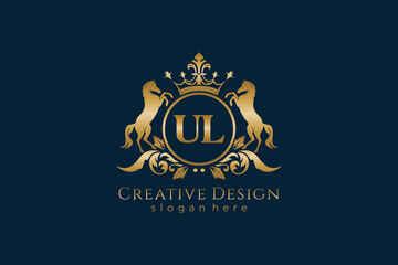Obraz initial UL Retro golden crest with circle and two horses, badge template with scrolls and royal crown - perfect for luxurious branding projects - fototapety do salonu