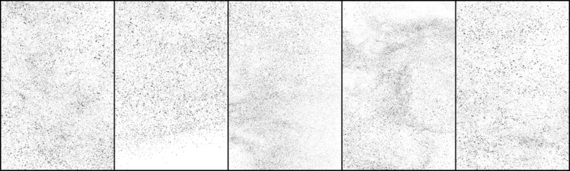 Obraz Set of distressed black texture. Dark grainy texture on white background. Dust overlay textured. Grain noise particles. Rusted white effect. Halftone vector illustration, Eps 10. - fototapety do salonu