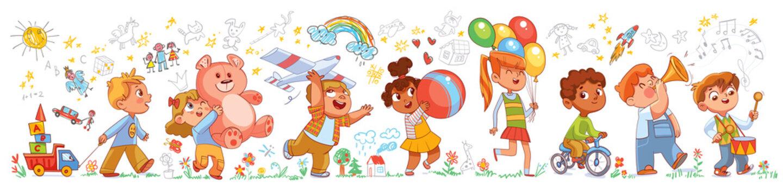 Children in kindergarten play with toys