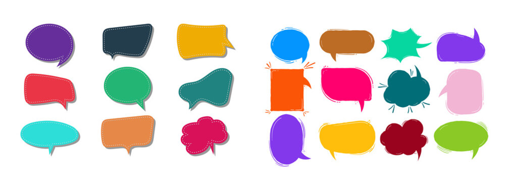 Big Set of Cartoon, Comic Speech Bubbles, Empty Dialog Clouds in Pop Art Style. Illustration for Comics Book , Social Media Banners, Promotional Material.