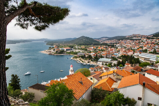 elevated and scenic view of the Croatian town of Sibenik