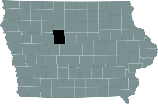 Black highlighted location map of the Webster County inside gray map of the Federal State of Iowa, USA