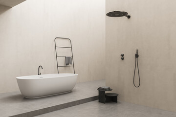Beige bathroom space with bathtub, open shower and partition wall
