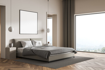 Fototapeta Poster for your design in the panoramic beige bedroom with grey bed obraz