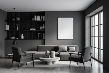 Poster in the living room with cabinet in dark grey