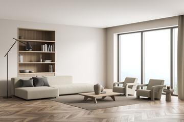 Fototapeta Beige living room with panoramic view and niche bookshelf obraz